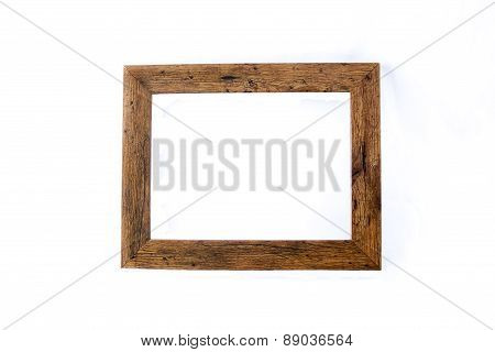 Wooden Rustic Picture Frame Isolated On White Background.