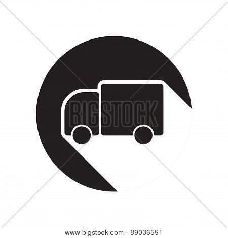 Black Icon With Lorry And Shadow