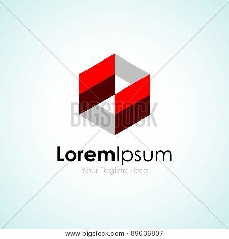 Red transparent 3d cube concept model elements icon logo