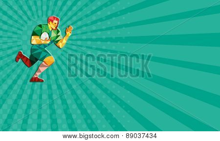 Business Card Rugby Player Fend Off Low Polygon