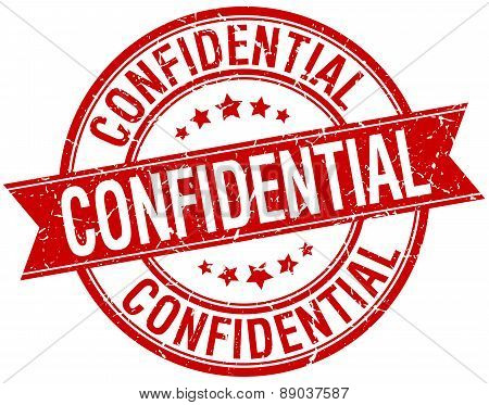 Confidential Grunge Retro Red Isolated Ribbon Stamp