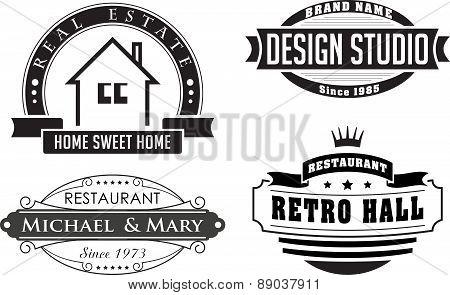 Set Of Retro Vector Design Elements, Logos, Signs Or Labels Of Restaurant And Design Studios.