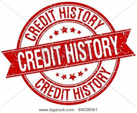 Credit History Grunge Retro Red Isolated Ribbon Stamp