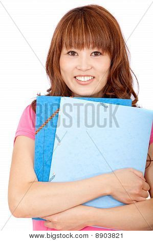 Female Student With Folders