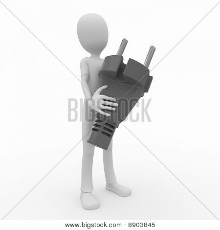 3D Man With Plug