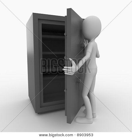 3D Man With Safe Box