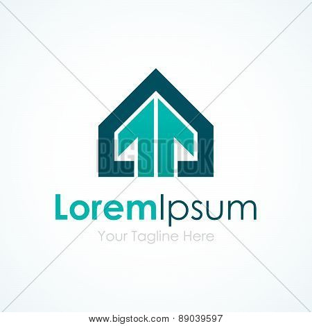 House wins professional stylish arrow up element icons business logo