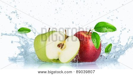 Fresh apples with water splash over white background