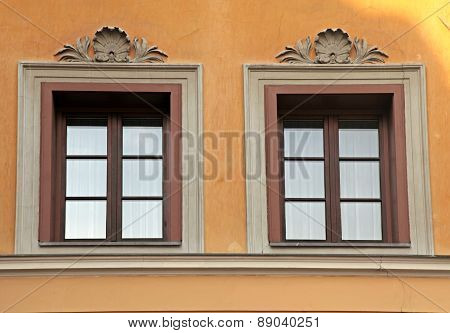 Typical Old Windows In Medieval Innsbruck, Austria.