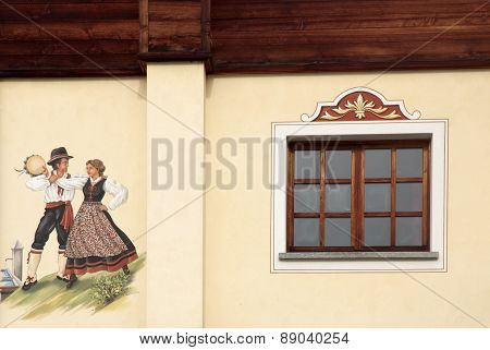 Old Alpine House With Window And Fresco