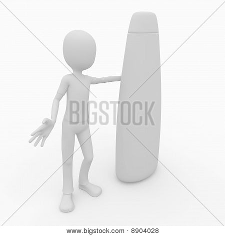 3D Man With Blank Shampoo Product