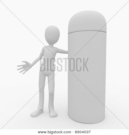 3D Man With Blank Spray Product