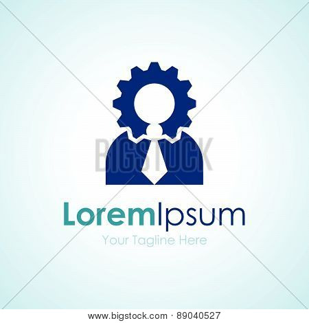 Thinking man head gear wheel element icons business logo