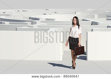 Businesswoman with suitcase looking at camera