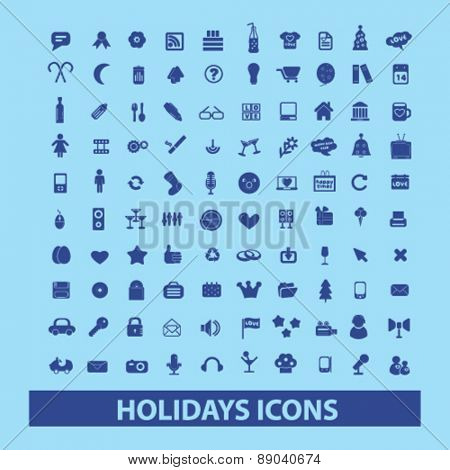 holidays, party, celebration icons, signs, illustrations set, vector