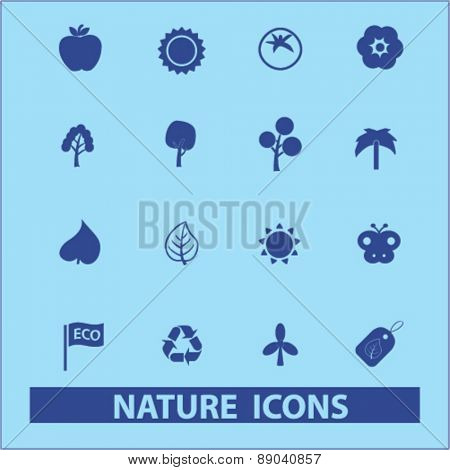 nature, ecology icons, signs, illustrations set, vector