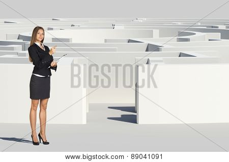 Businesswoman with folder looking at camera