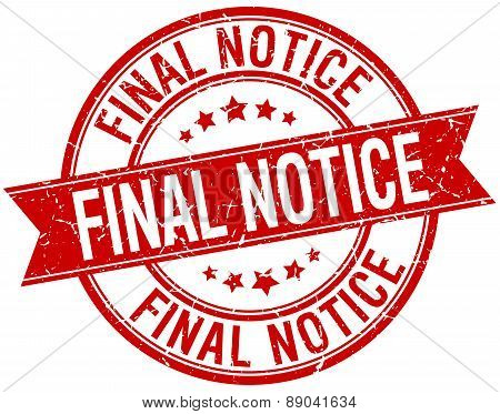 Final Notice Grunge Retro Red Isolated Ribbon Stamp