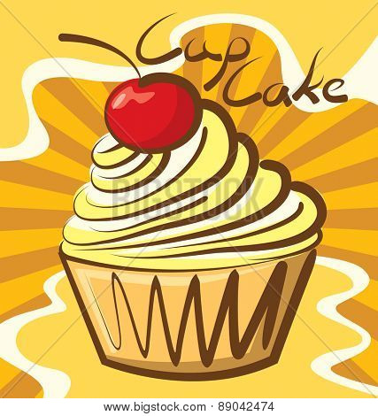 vector cupcake with calligraphic inscription
