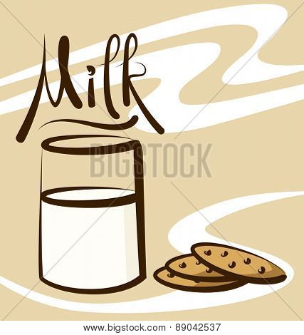 vector milk with calligraphic inscription