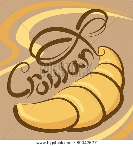 vector croissant with calligraphic inscription