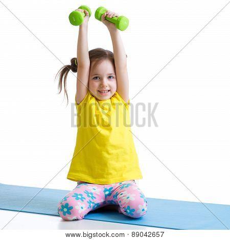 Active child exercising isolated on white background