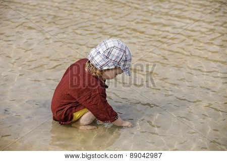 Child Collecting Shells On Tropical Beach