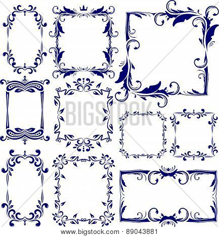 Set of 10 decorative, vintage, text, blue frames. Vector illustration for your design.
