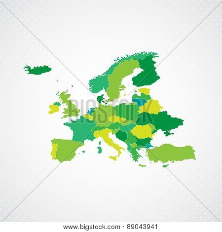 Green Europe Map  Background Vector illustration