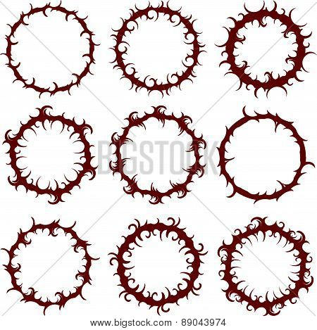 Set of 9 aggressive, sharp, spiky, round frames. Vector illustration for your design.