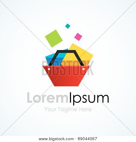Full documents shopping cart graphic design logo icon
