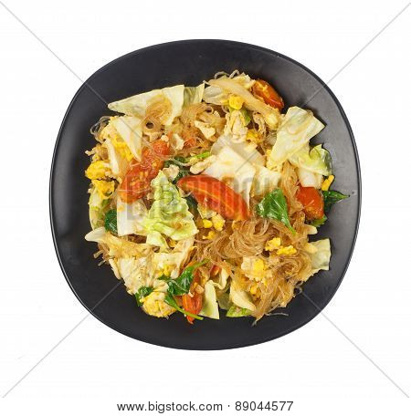 Top View Of Stir Fried Vegetables And Mung Bean Noodles