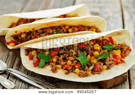 Tacos With Meat, Corn And Peppers
