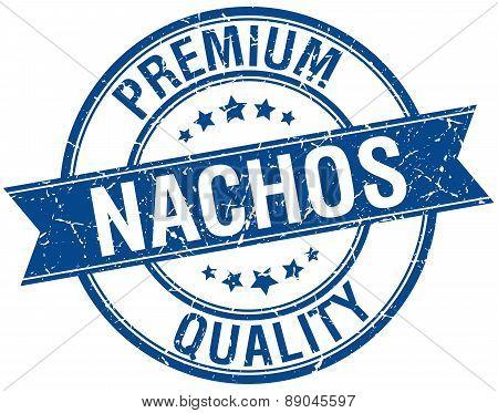 Nachos Grunge Retro Blue Isolated Ribbon Stamp
