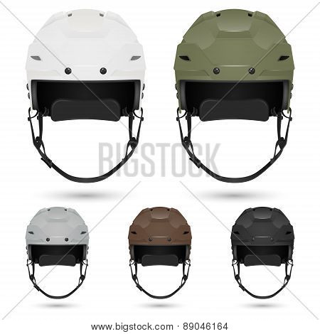 Ice hockey helmets set, isolated.