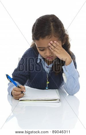 Cute Young Girl Solving Difficult Quiz