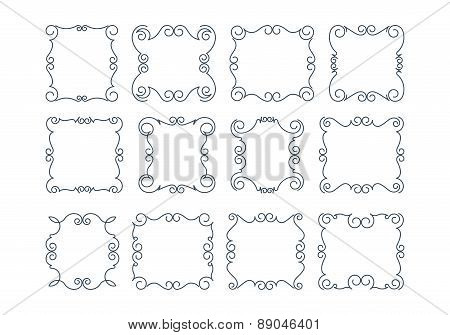 Set of 12 rich decorated calligraphic stroke frames.