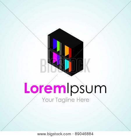 Black information data box cube simple business icon logo