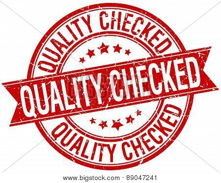 Quality Checked Grunge Retro Red Isolated Ribbon Stamp