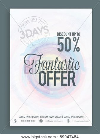 Beautiful Sale poster, banner or flyer design with fantastic offer for limited time.