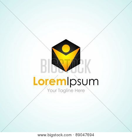 Gold earning man cube simple business icon logo
