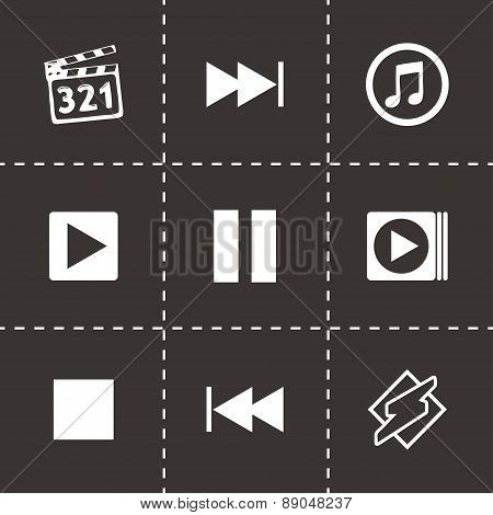 Vector media player icons set