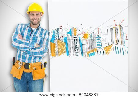 Confident repairman leaning on blank billboard against white background with vignette