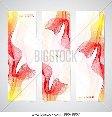 Colorful  Vertical Set Of Banners smoky waves vector background. Can be used for backgrounds and pag