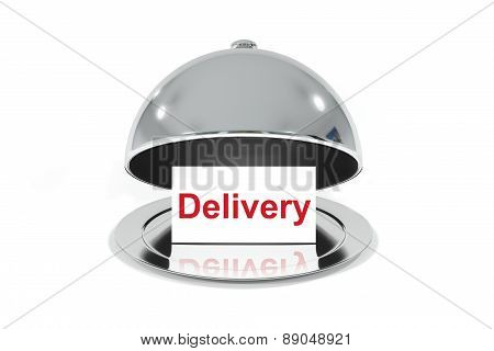 Opened Silver Cloche With White Sign Delivery