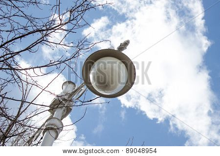 Retro Style Street Lamppost With Tree Branches