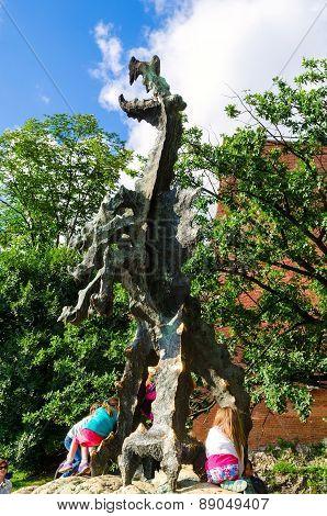 Wawel Dragon in Krakow, Poland.