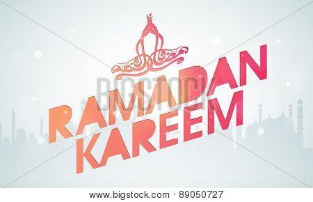 Ramadan Kareem celebration poster, banner or flyer with arabic calligraphy text Ramazan Kareem on mosque silhouette background.
