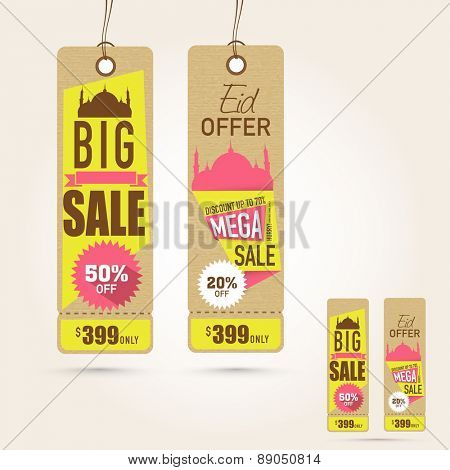 Stylish hanging tags of Big Sale with discount offer on occasion of Islamic festival, Eid Mubarak celebration.