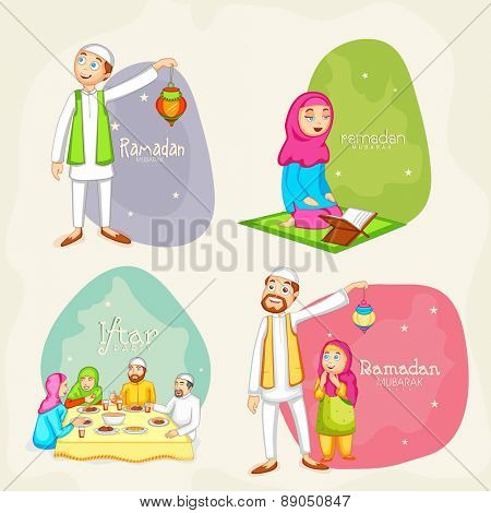 Happy Muslim people celebrating and following their rituals on occasion of holy month Ramadan Kareem celebration.
